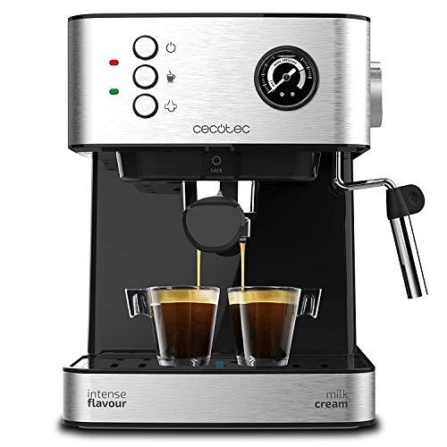 Cecotec Cafetera Express Power Espresso 20 Matic Professionale. 850 W, 20 Bares, Manómetro, Depósito de 1,5L, Brazo Doble Salida, Vaporizador, Superficie Calientatazas, Acabados en Acero Inoxidable