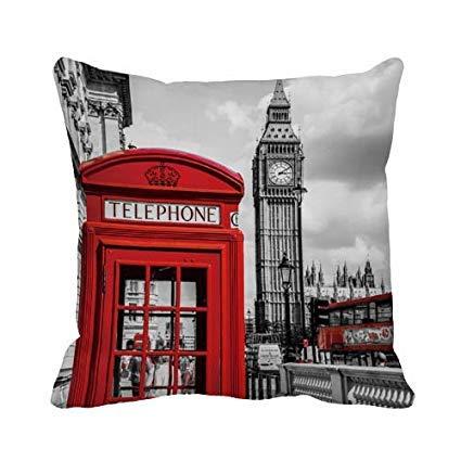 Nonbrand - Funda de cojín de lona de algodón, diseño de Londres, color rojo