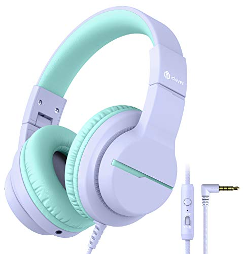 iClever Kids Headphones with Microphone, Over Ear HD Stereo Girls/Boys Headphones for Children, Safe Volume Limiting 85/94dB, Sharing Function Foldable Wired Headphones for Fire Tablets/School/Travel, Purple