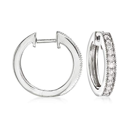 Ross-Simons 0.25 ct. t.w. Diamond Hoop Earrings With Beaded Edge in Sterling Silver