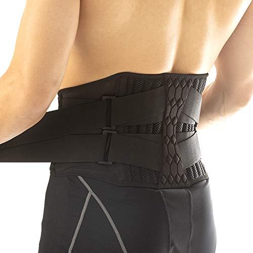 Cinturón de soporte lumbar - soporte de soporte de la espalda baja con tiras de resorte de metal desmontable para alivio del dolor y prevención de lesiones, ciática, estenosis espinal, escoliosis o di