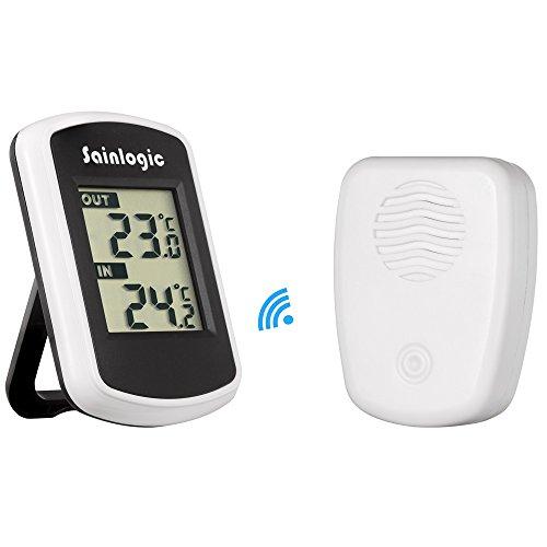 sainlogic Wetterstation, Thermometer Innen außen, Genaue Lesung Temperatur mit Sensor für den Schreibtisch | Ihr Zuhause | Das Büro