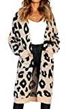 Angashion Women's Long Sleeves Leopard Print Knitting Cardigan Open Front Warm Sweater Outwear Coats with Pocket Khaki XL