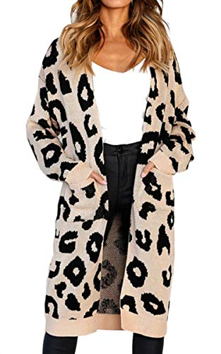 Angashion Women's Long Sleeves Leopard Print Knitting Cardigan Open Front Warm Sweater Outwear Coats with Pocket Khaki M