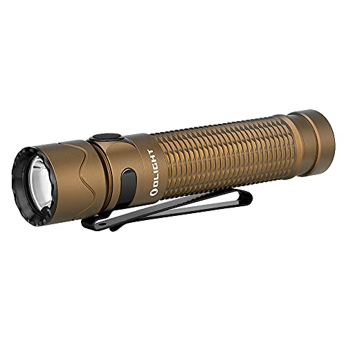 OLIGHT Warrior Mini 2 1750 Lumens Tactical Flashlight with Dual Switch and Proximity Sensor, MCC Rechargeable 3500mAh 18650 Battery EDC Flashlights for Camping, Outdoor, Emergency(Desert Tan)