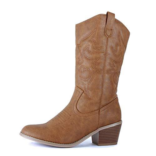 West Blvd - Womens Miami Cowboy Western Boots (9.5 M US, Tan Pu)