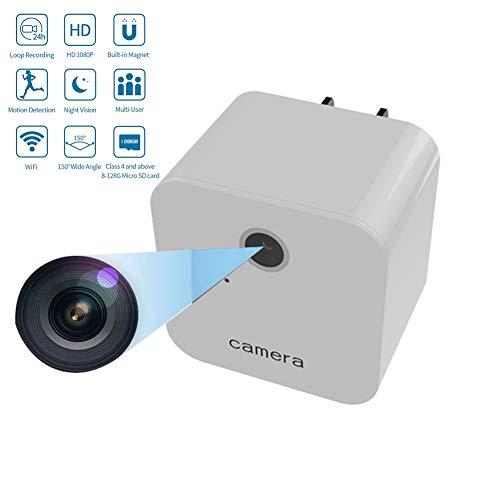 Futursd USB Charger Mini Camera WiFi Verborgen Camera Draagbare 1080P Draadloze Kleine Indoor Thuis Beveiliging USB Oplader Camera Nanny Cam met Bewegingsdetectie (kleur : Wit)