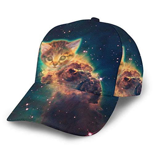 HARLEY BURTON Gorra de béisbol unisex todo impreso Starry Space Cat Explosión ajustable empalme Hip Hop Cap Sun Hat Negro