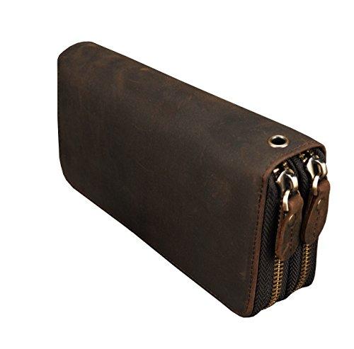 LUUFAN Echtes Leder Doppelreißverschluss Lange Brieftasche Große Kapazität Leder Clutch Wallets mit Handschlaufe (Braun 1)