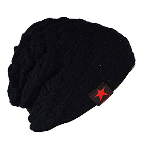 Thenice Bonnet tricoté Homme Reversible Beanie Hat Adulte (Noir)
