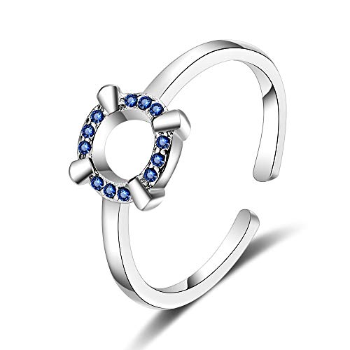 IWINO Ring Weibliche koreanische Version von Small Fresh Set Diamond Sweet Open Ring Blue Diamond Single Ring