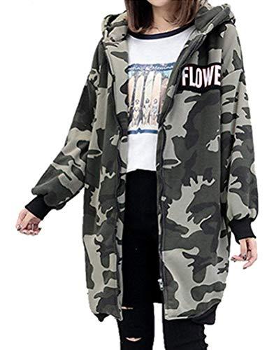 Adelina dames herfst casual camouflage print mantel parka straatjas met capuchon lang trenchcoat mode completi overgangsjas ritssluiting sweatjack coat trekker