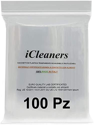 iCleaners 100 Buste in plastica Trasparente Prodotte in Italia Bustine per Alimenti richiudibili risigillabili, Chiusura a Pressione, Riutilizzabile, Molto Resistente, 100% Made in Italy (6x7 100Pz)