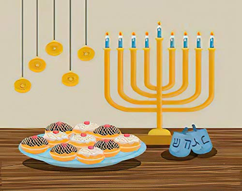MQPPE Happy Hanukkah 5D DIY Diamond Painting Kits, Happy Hanukkah Chandelier Bakery Candles Chanuka Full Drill Painting Arts Set Craft Canvas for Home Wall Decor Adults Kids, 12' x 16'