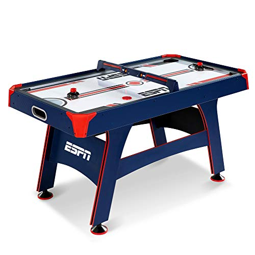 ESPN 5 Ft. Air Hockey Table with Overhead Electronic Scorer and Pucks & Pushers Set Family Indoor Game, Blue/Red