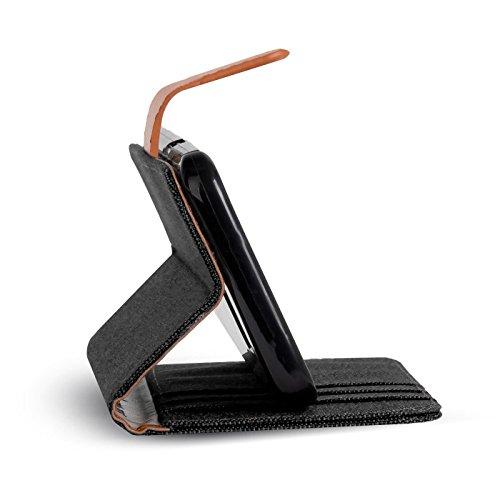 Verco Y5 II Hülle, Schutzhülle für Huawei Y6 2 Compact Tasche Denim Textil Book Case Flip Case - Klapphülle Schwarz - 6