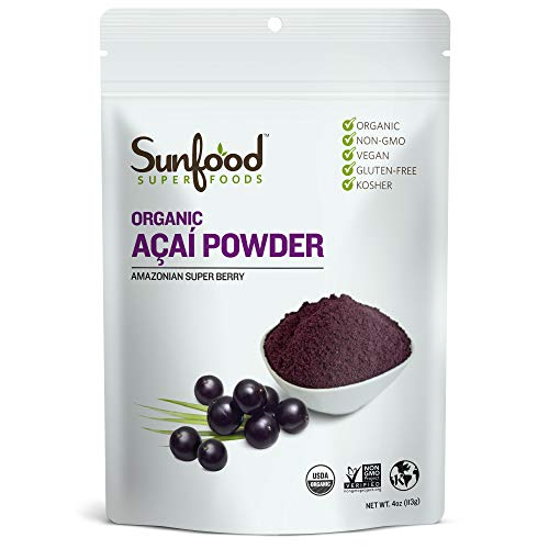 Sunfood Superfoods Acai Powder - Organic | Guaranteed Best Quality | Ultra-Clean (No Chemicals, Additives, Fillers, Artificial Colors or Flavors) | Non-GMO, Gluten-Free, Vegan, Kosher | 4 oz Bag