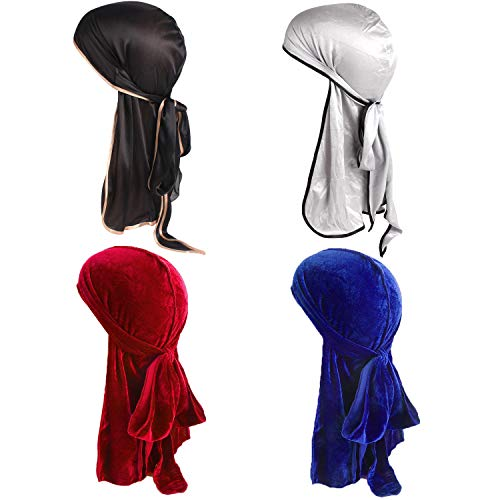Velvet Durags and Silky Soft Durag with Long Tail Durags for Men 360 Waves