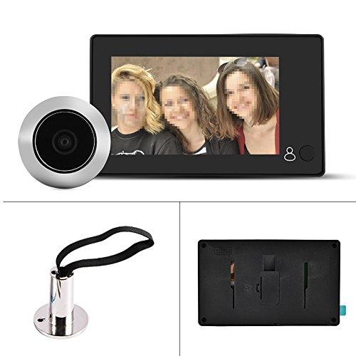 Garsent Timbre de Video Digital de 4.3', Visor de Mirilla de Puerta Digital Inteligente HD 1MP LCD con Gran Angular de 140 ° Alimentado por batería o Banco de energía para el hogar