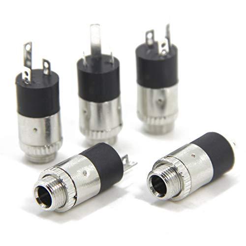 ステレオジャック 3.5mm 外部マイク取り付け用 wuernine 5個セット アクションカメラ ステレオ ミニ TRS パネルマウント取付型 メス ヘッドフォンアンプ修理自作用対応