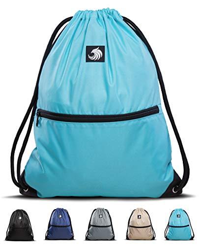 Fitgriff® Turnbeutel für Damen und Herren, Sportbeutel, Gymsack, Rucksackbeutel, Gym Bag Drawstring Backbag Bag (Light Blue)