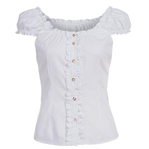 Almsach Damen Trachten-Mode Trachtenbluse Carmen traditionell geschnitten Gr.32-50, Größe:44, Farbe:Weiß