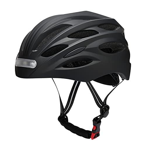 JIKKO Fahrradhelm Damen Herren Stadthelm Radhelm mit LED-Frontleuchte Rücklichter USB-Aufladung Leichter Mountainbike Helm Radhelm Rennradhelm Fahrradhelm 58-60CM