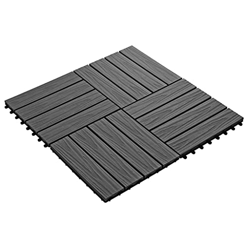 Susany 11 Unidades Suelo Antideslizante Exterior de WPC,Baldosas Terraza Exterior para Porche Patios Balcones Baños Piscina o SPA,Relieve Profundo,Resistentes al Agua,30x30cm 1m² Negro