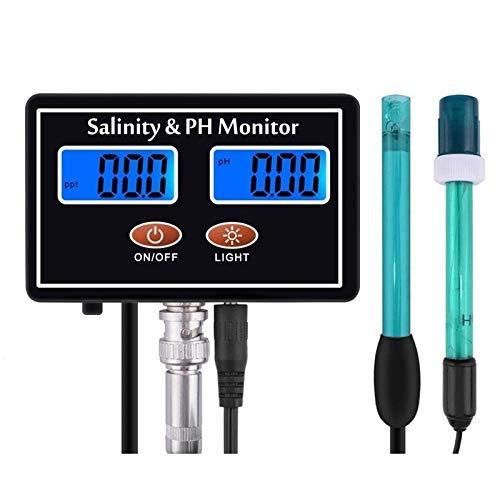 SZLX Online Digital PH Salzgehaltmesser pH Salzwasserqualitätstester LCD pH Salzgehalt Echtzeitmonitor für Meerwasser Aquarium Aquarium-US_Plug_Set