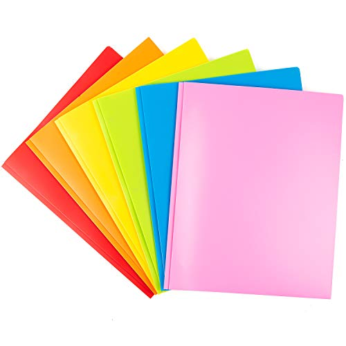 MAKHISTORY Heavy Duty Plastic Folders with 2 Pockets and Prongs - 6 Pack, Includes Business Card Slot, Bright Colors for Letter Size Paper
