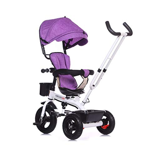 Stroller Toys Trolley Children's Bicycle Boy Girl Trolley Lightweight Foldable Tricycle Kids Toy Car Child Pedal Bicycle Best Gift for Children (Color : Purple, Size : 45105cm)