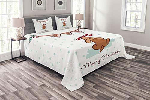 ABAKUHAUS Navidad Cubrecama, Perro con el bastón de Caramelo de Navidad, Set Decorativo Colores y Estampa Durables Tela De Fácil Limpieza, 220 x 220 cm, Turquesa pálido y Ginger