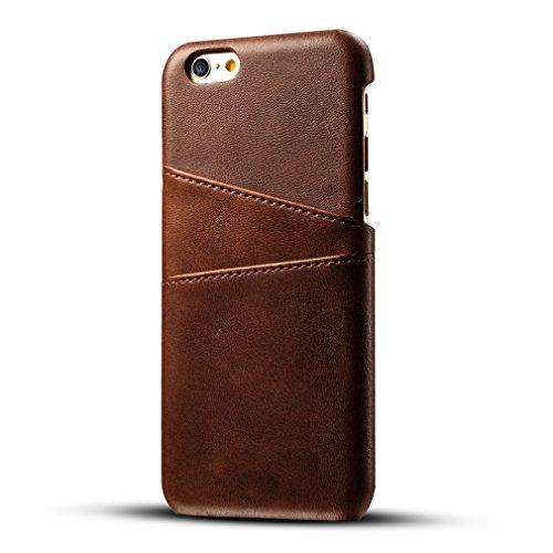 GY-honeq iPhone 6 Plus Funda,iPhone 6S Plus Caso con Tarjetero,Slim Fina Carcasa PU Cuero,con función de Llevar Tarjetas de credito/Tarjetas de Transporte by (P6P-468- Marrón)