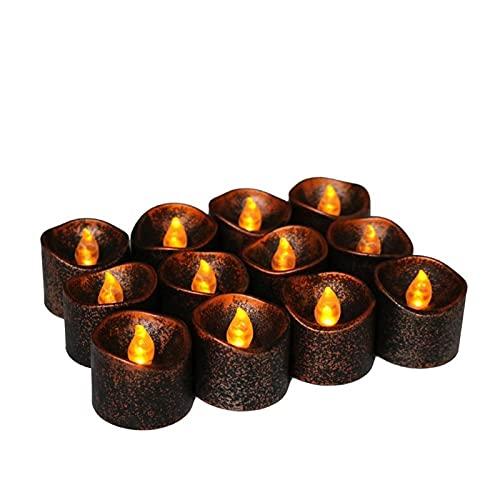 ZHAHAPPY 12pcs / Pack LED Velas Luces De Té - Velas Sin Llama Lámpara Batería Velas Luces para Fiesta En Casa Decoración De Bodas De Halloween (Color : Style 2)