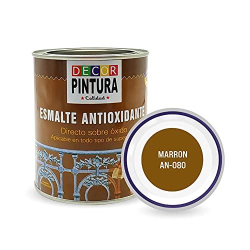 Pintura Marron Antioxidante Exterior para Metal minio Pinturas Esmalte Antioxido para galvanizado, hierro, forja, barandilla, chapa para interiores y exteriores - Lata 750ml