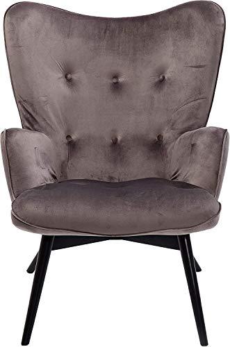 Kare Design Sessel Vicky Velvet, samtiger Loungesessel, TV-Sessel mit dunklem Holzgestell, dunkelgrau, Ohrensessel, (H/B/T) 94x73x83cm