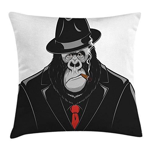 Gorilla Kussen Kussensloop, Formidable Orangutan Mafia Gangster in een zwart pak Roken een sigaar, Decoratieve Vierkante Accent Kussensloop, 18 X 18 Inch, Zwart Grijs en Vermilion