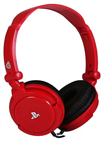 4Gamers - Pro 4-10 Auricular Estéreo Licenciado, 40Mm De Diámetro, Micrófono Flexible, Rojo (PS4)
