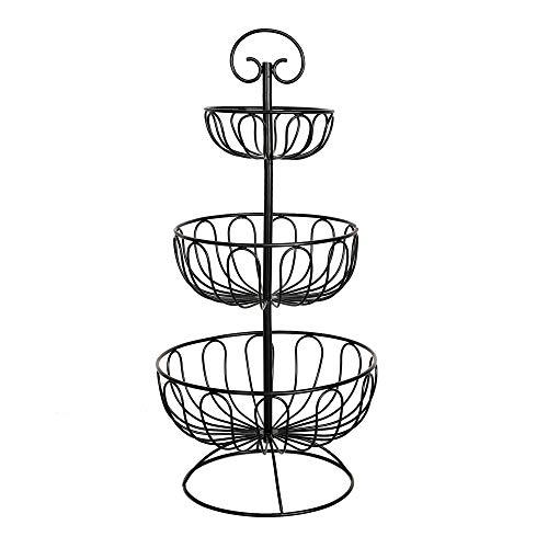 ARTISANS VILLAGE 3 Tier Wire Fruit Basket - Round Metal Standing Basket Display Stand - Screws Free Design for Storing Organizing Fruits Vegetables - Freestanding Rustic Decorative Basket