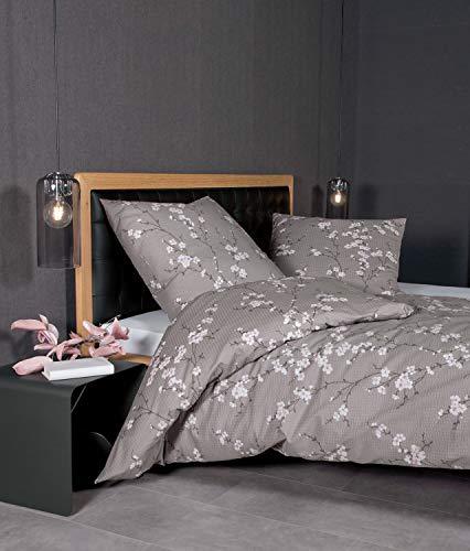 Janine Design Seersucker Bettwäsche Tango 20076-07 Taupe 1 Bettbezug 135x200 cm + 1 Kissenbezug 80x80 cm