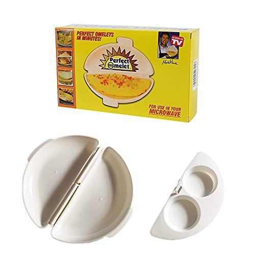 CJBIN Recipiente Tortilla Microondas, Cocinar Huevos Microondas, Cuece Huevos Microondas, Huevo Furtivo para Microondas, Cocedor Tortilla Microondas, Escalfadores de huevo, Cocer Huevos Microondas