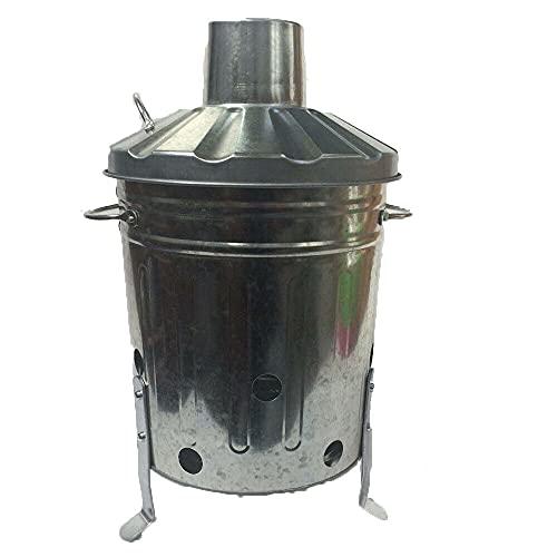 HoitoDeals 1 mini incinérateur de jardin galvanisé de 15 L pour bois, papier, lettres