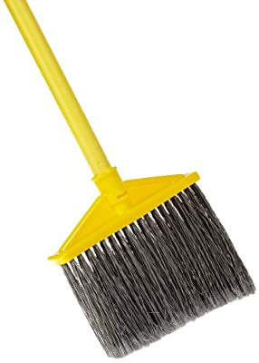 Rubbermaid Commercial Smooth-Surface Angle Broom, Vinyl-Coated Metal Handle, Flagged Bristles, Gray (FG637500GRAY)