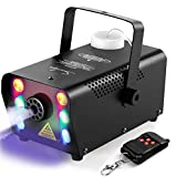 Sunolga Halloween Fog Machine,6 Stage LED Lights with 7 Colors,500W Wireless Remote Control Portable Smoke Machine,with...