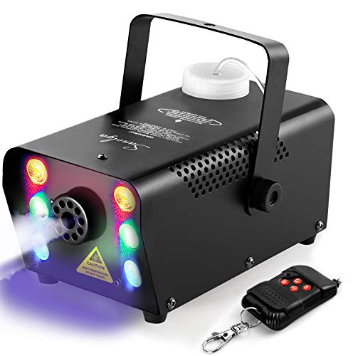 Sunolga Halloween Fog Machine,6 Stage LED Lights with 7 Colors,500W Wireless Remote Control Portable Smoke Machine,with Fuse Protection,for Holidays Parties Weddings Stage Club Bar - Black