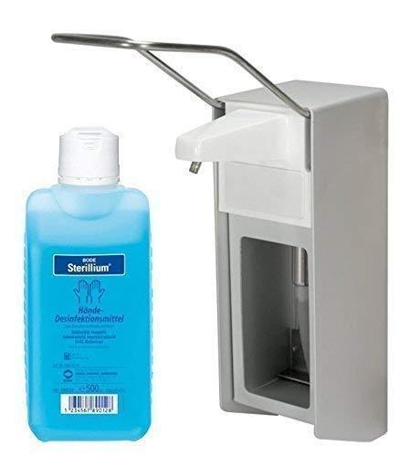 500 ml Wandspender Aluminium gebürstet Wandhalter + Zubehör Auswahl Sterillium (Spender+Sterillium)