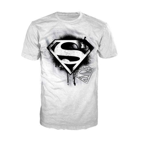 Superman T-Shirt -XL- Logo (weiss/schwarz)