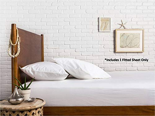 Comfy Sheets 100% Egyptian Cotton Sateen Weave 1000 Thread Count Full Fitted Sheet with Elastic All Around - Fits Mattress Upto 18'' Deep Pockets White
