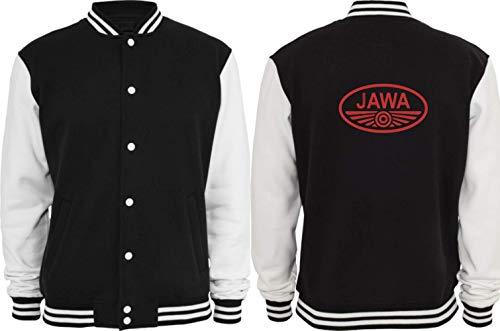 Textilhandel Hering Collegejacke - Jawa Motorrad Fans (Schwarz/Weiß, XL)
