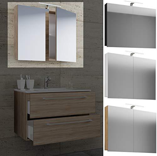VCM Spiegelschrank Badspiegel Spiegel Badezimmer Hängespiegel VCB 1-80 cm Mit LED-Beleuchtung: Weiß